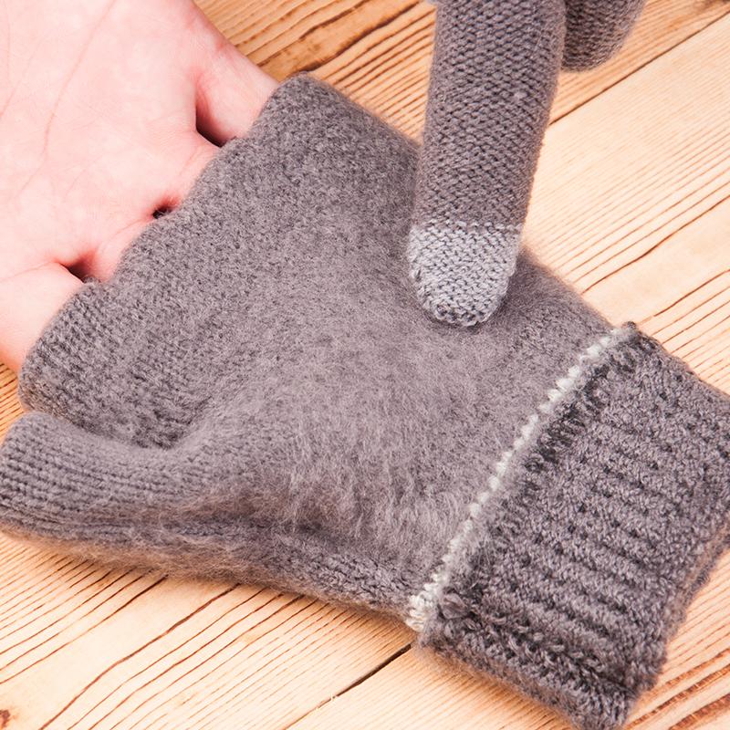 加绒加厚保暖棉线男式手套 骑行学生毛线针织 男士冬季户外可触屏