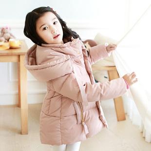 中小童女童羽绒服反季清仓品牌正品特价连帽加厚儿童中长款轻薄潮