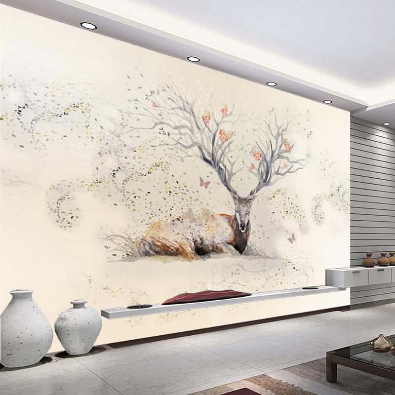 3d欧式麋鹿森林北欧装饰画现代简约沙发床头电视背景墙壁画墙布图片