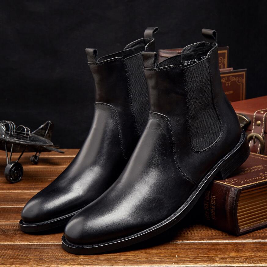 春秋冬男士真皮切尔西靴 英伦头层牛皮套筒短靴圆头男
