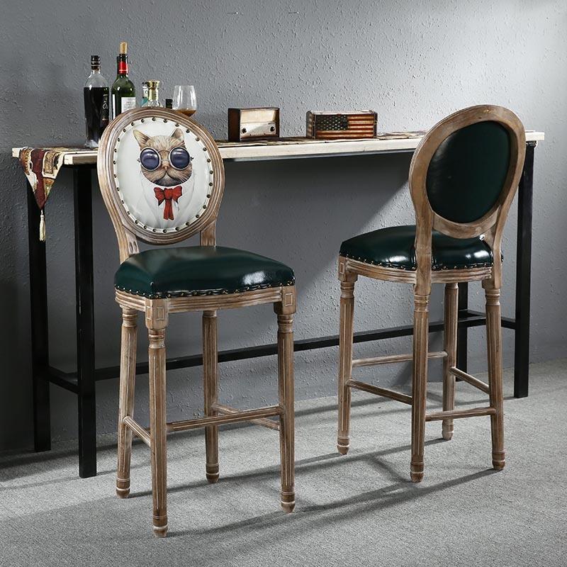 美式复古做旧吧台椅靠背loft欧式乡村咖啡