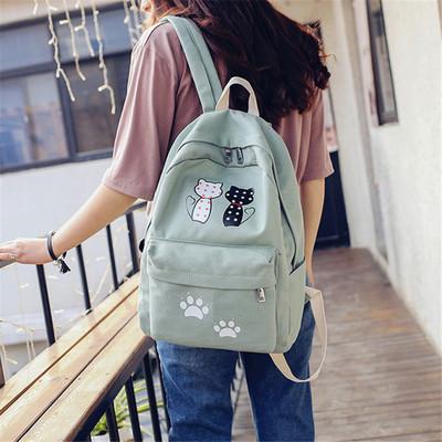 小清新森女系可爱猫咪帆布双肩包女韩版初中学生书包少女日系背包
