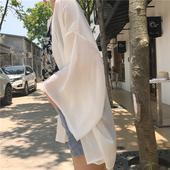 夏季韩版女装百搭宽松中长款防晒衣开衫女休闲长袖薄款雪纺衫外套