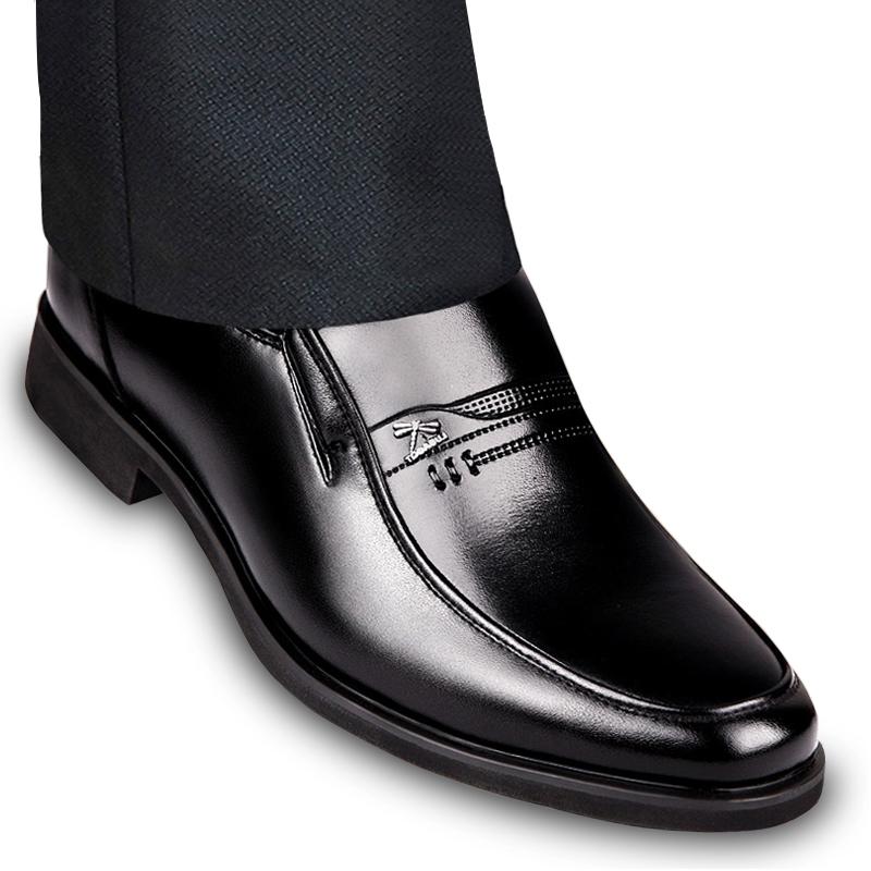 中年春夏镂空透气单鞋头层牛皮 6CM 男士皮鞋商务正装真皮内增高鞋