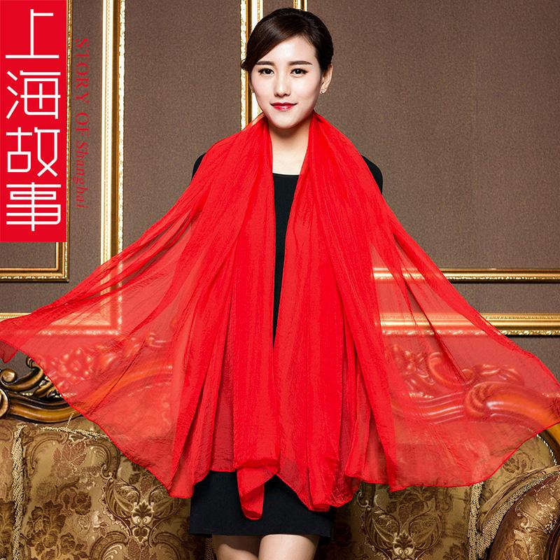 女士四季纺纱丝巾超大纯色围巾沙滩长款披肩保暖 故事上海