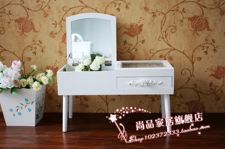 欧式韩式飘窗小梳妆台化妆品收纳迷你田园白色化妆桌
