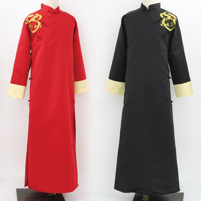 中式结婚礼绣花新伴郎团敬酒礼服装民国复古相声长袍长衫五四青年