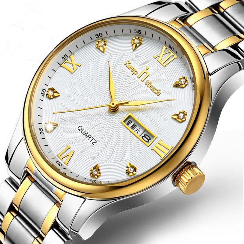 男士手表双日历防水精钢带非机械石英表潮流皮带男款夜光学生手表