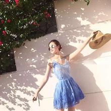 水溶蕾丝连衣裙小清新甜美吊带短裙海边度假裙修身显瘦沙滩裙无袖