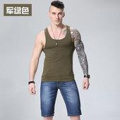 男士夏季背心纯棉汗衫修身弹力运动健身青年潮紧身纯色坎肩马甲男
