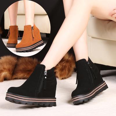 秋冬季厚底女款短靴子高跟防水台百搭内增高女士磨砂皮马丁靴坡跟