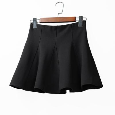 夏天半身裙百褶裙a字型短裙大码胖妹妹学生群子夏季小黑裙日系