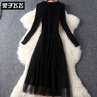 秋冬黑色气质修身显瘦中长款毛衣针织拼接网纱大摆内搭打底连衣裙