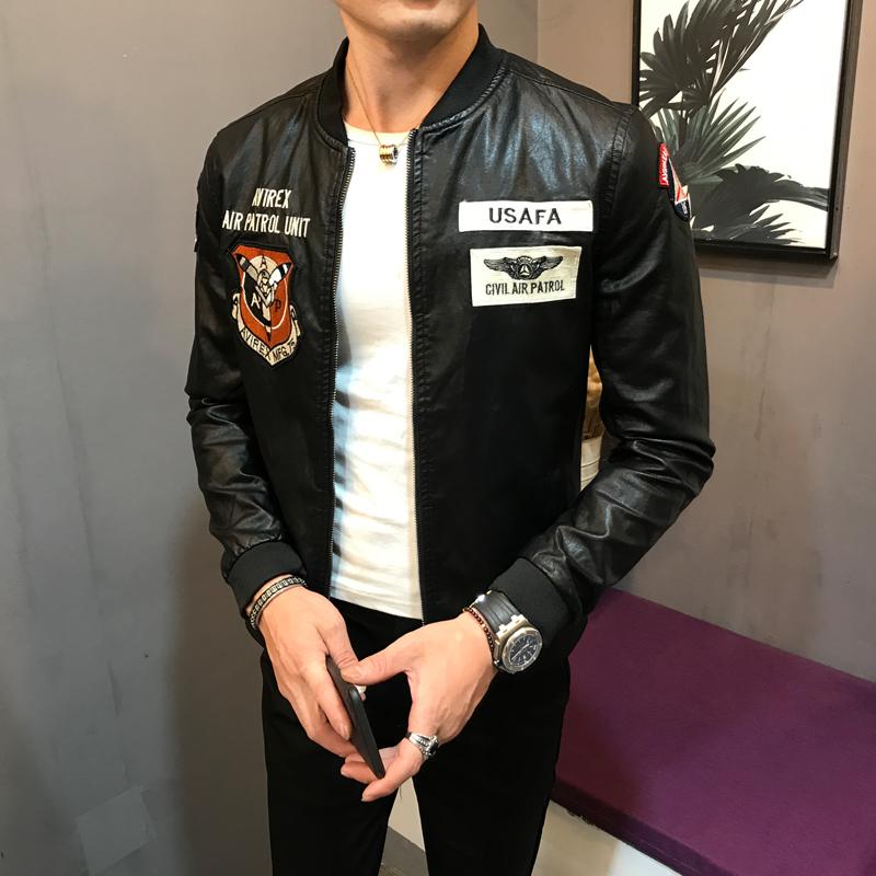 时尚潮流男装外套青年皮夹克个性彩色标志休闲韩版修身立领皮衣服