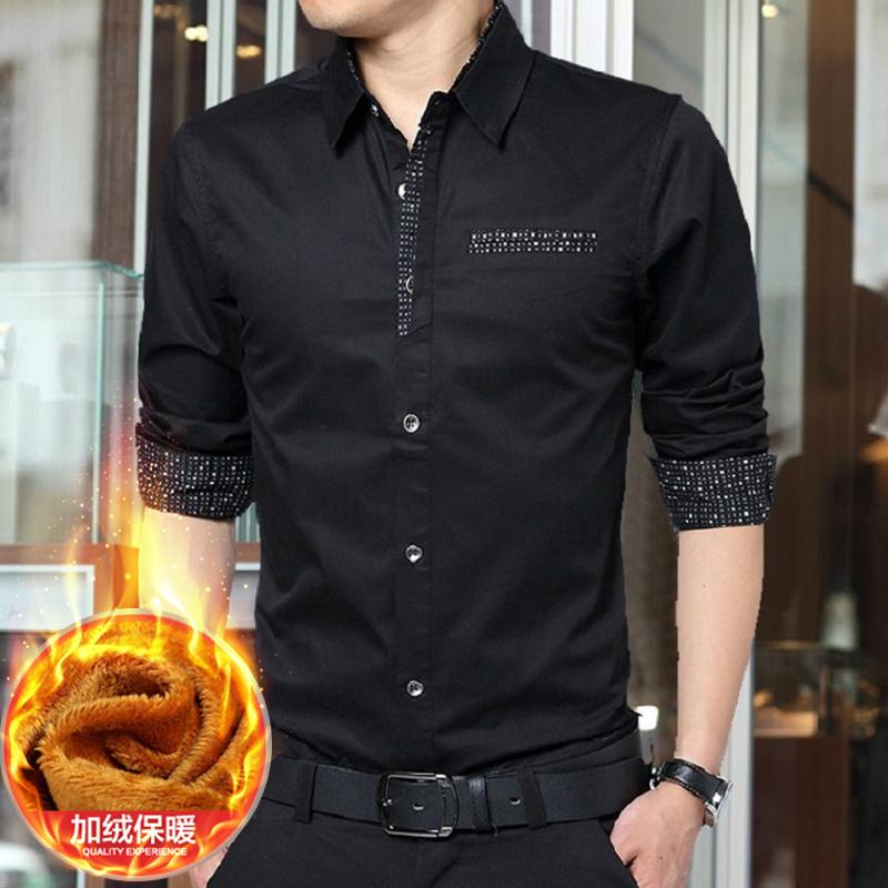 秋冬季男士长袖衬衫加绒加厚青年修身寸韩版休闲纯棉商务保暖衬衣
