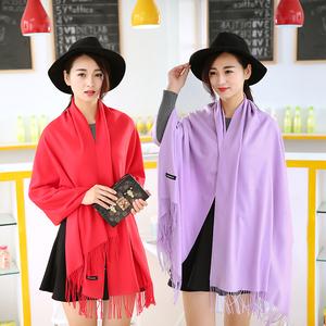 上海故事秋冬季纯色仿羊绒女士白色围巾披肩两用长款加厚保暖围脖