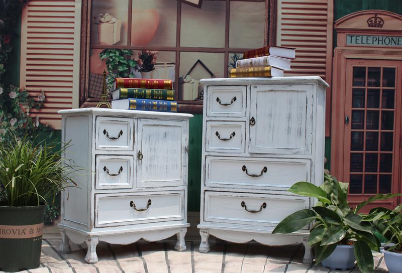 包邮田园斗柜玄关欧式地中海家具韩式复古做旧柜子