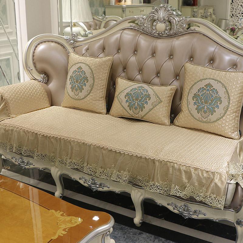 欧式沙发垫子奢华皮沙发坐垫冬毛绒纯色实木美式四