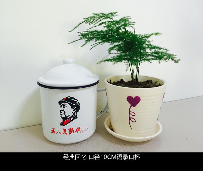 老式搪瓷水杯带盖 搪瓷杯子 经典怀旧毛主席语录大号10cm茶缸图片