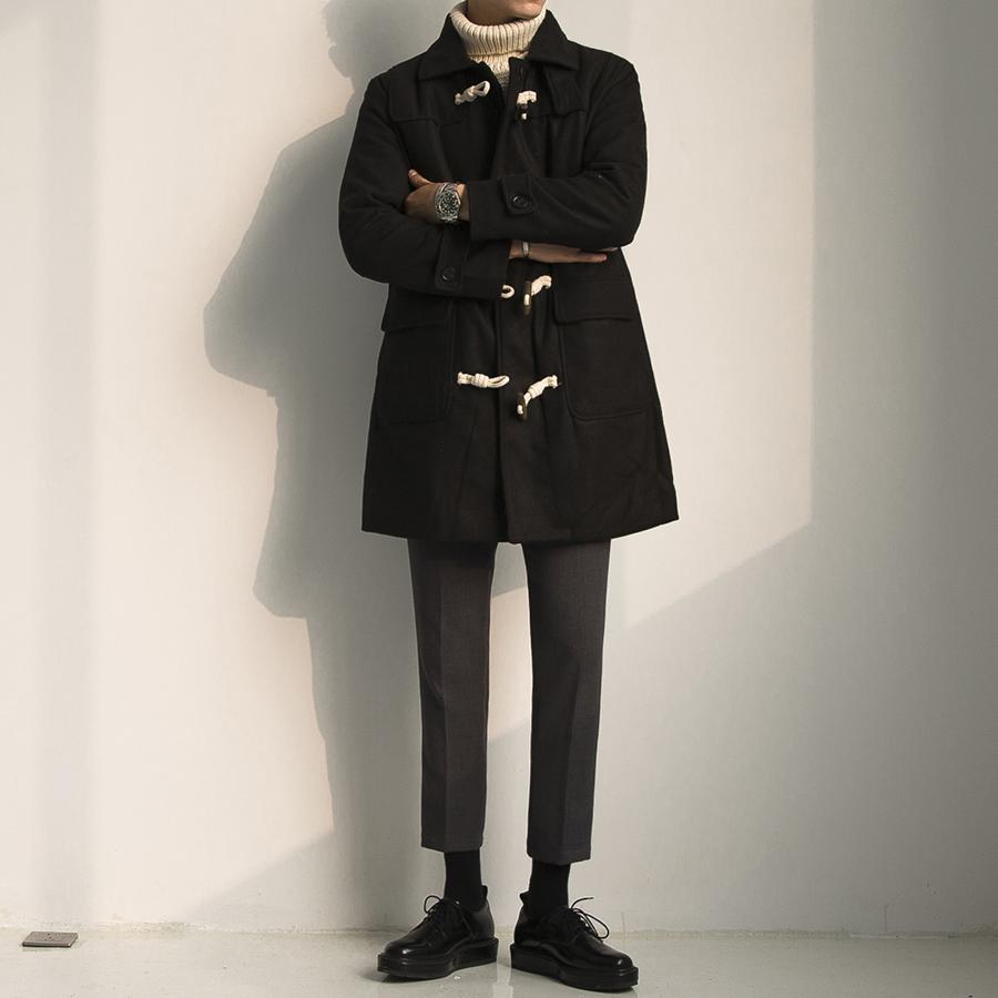 大赖自制 冬季新款韩版宽松学生男中长款牛角扣结绳毛呢大衣外套