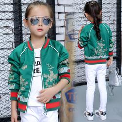 童装2016春秋装新款韩版中大女童拉链衫棒球服女童运动夹克外套潮