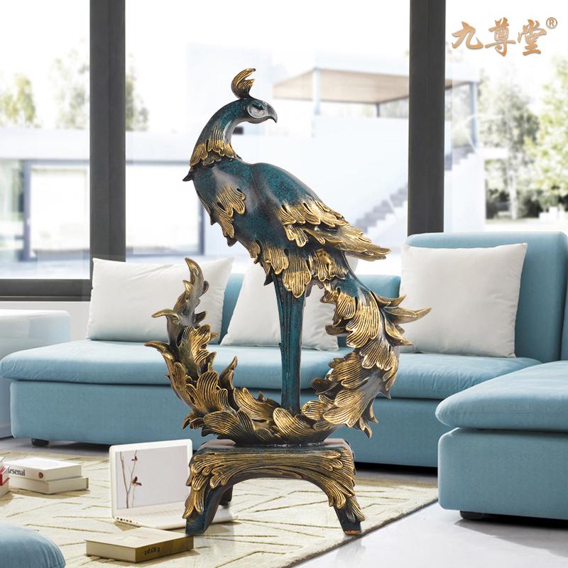 欧式复古凤凰摆件 现代简约玄关客厅装饰品创意实用乔迁新居礼品