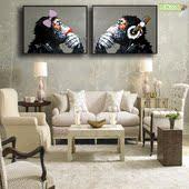客厅现代装饰画手绘动物抽象油画猩猩无框画简约玄关卧室餐厅挂画