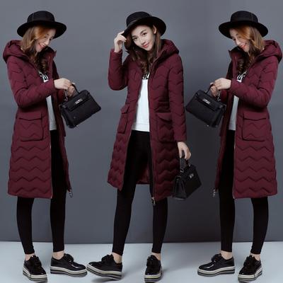棉衣女中长款棉袄女2017新款韩版修身过膝外套女冬羽绒棉服女装潮
