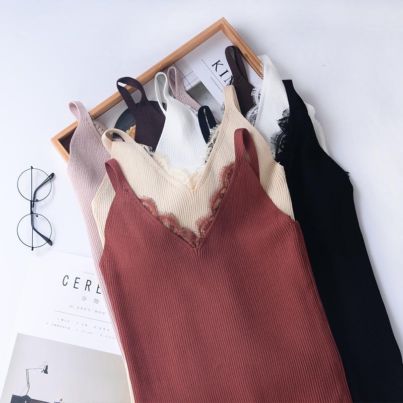 性感針織打底蕾絲夏季背心上衣花邊女短款甜美吊帶無袖