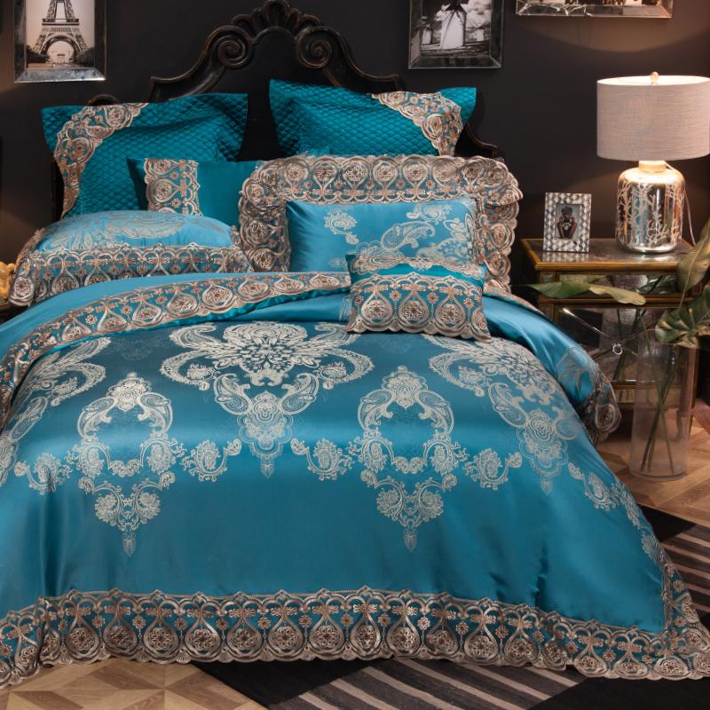 法式蕾丝四件套贡缎提花欧式样板房床上用品婚庆六八十多件套床品
