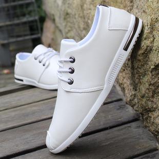 鞋子男潮鞋青年白色百搭休闲鞋秋季新款透气男士小皮鞋软面皮男鞋