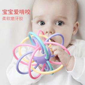 美贝乐曼哈顿球软婴儿磨牙棒宝宝牙胶4手抓球美国0-6个月12磨牙胶