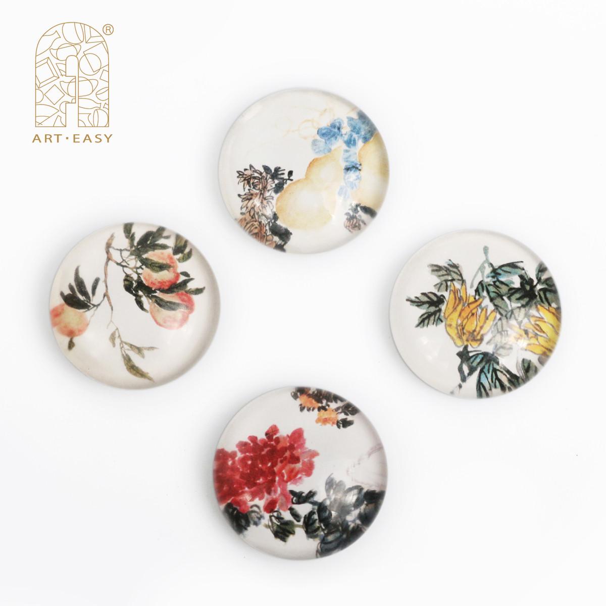 ARTEASY艺术浦东创意冰箱贴磁贴4只装水晶冰箱磁性贴磁铁吸铁石