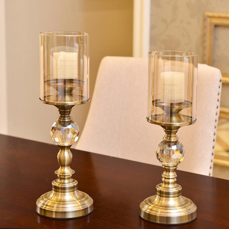 样板间蜡烛台家居摆件餐桌摆件古铜色烛光晚餐烛台