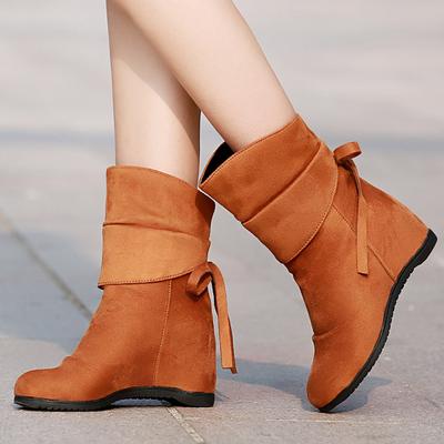 2017韩版冬磨砂真皮内增高中筒短靴单靴马丁靴女春秋坡跟平底女靴