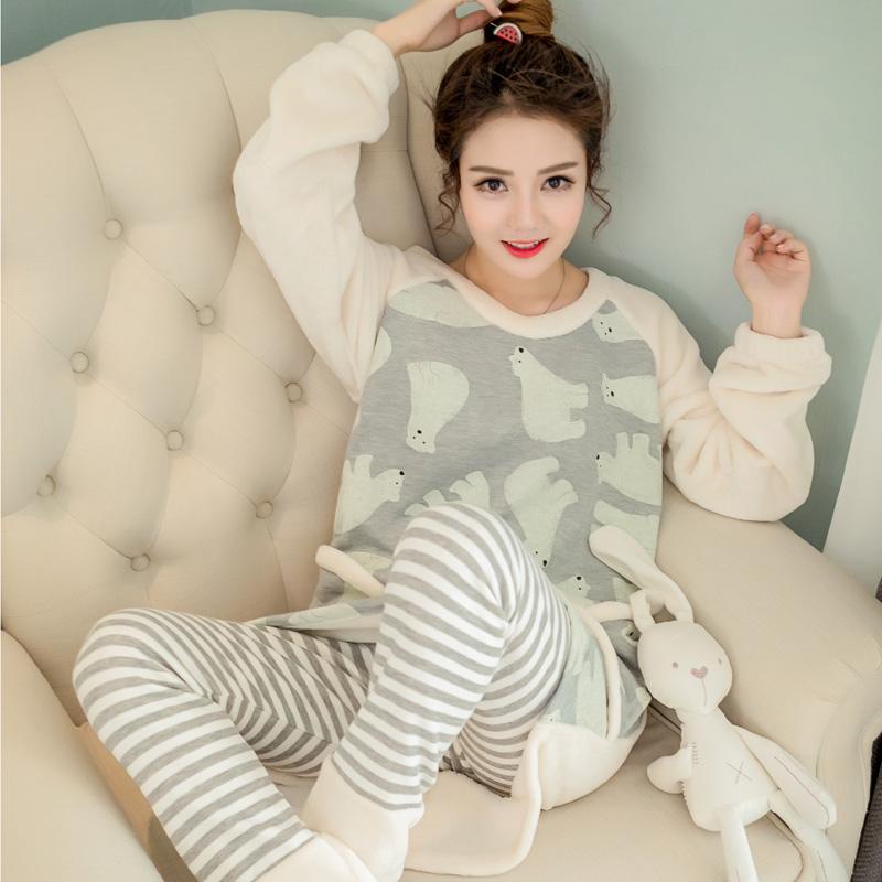 原创韩版新款秋冬季睡衣女士加厚保暖可爱珊瑚绒法兰绒家居服套装