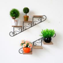 饰品店铺墙壁装 饰小置物架壁饰花架 美式铁艺墙上花架客厅背景墙装