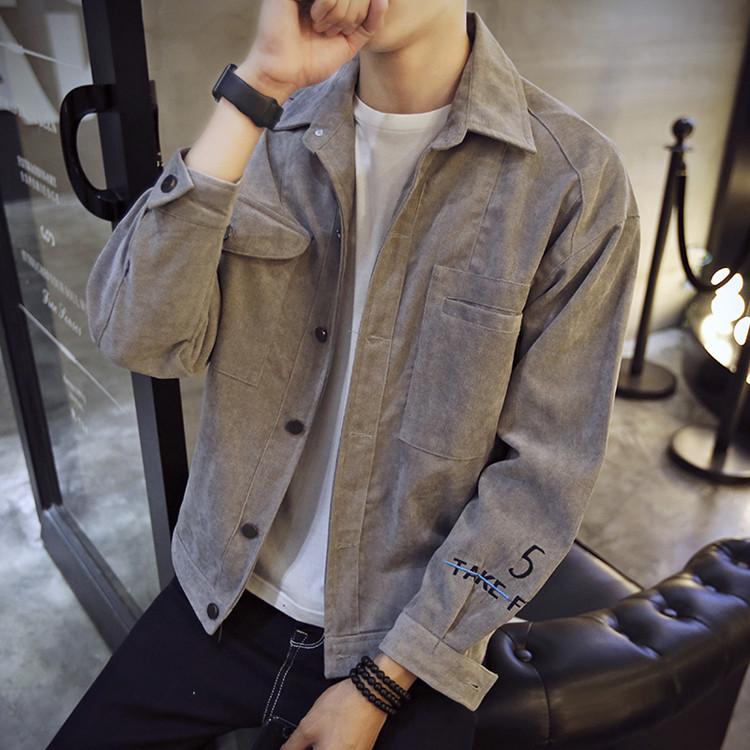 冬季韩版潮学生修身潮流款男夹克男 灯芯棉加绒加厚青年 棉衣外套