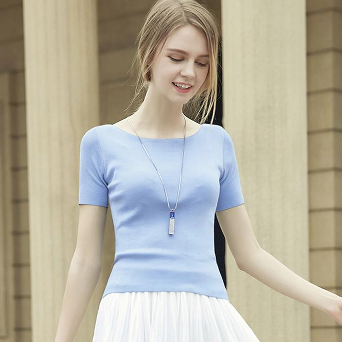 针织一字领修身上衣女装短袖夏季打底