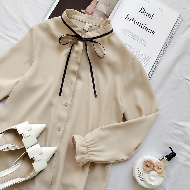 春装气质雪纺衫韩版潮长袖宽松衬衣衬衫蝴蝶结白色
