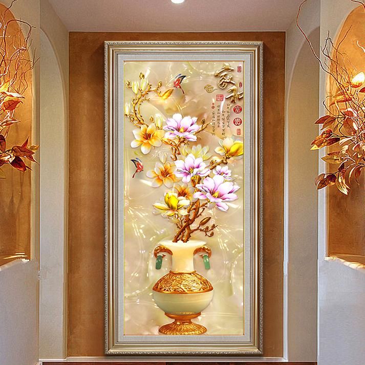 玄关装饰画过道走廊墙面油画欧式大气客厅壁挂画单幅竖版花卉油画