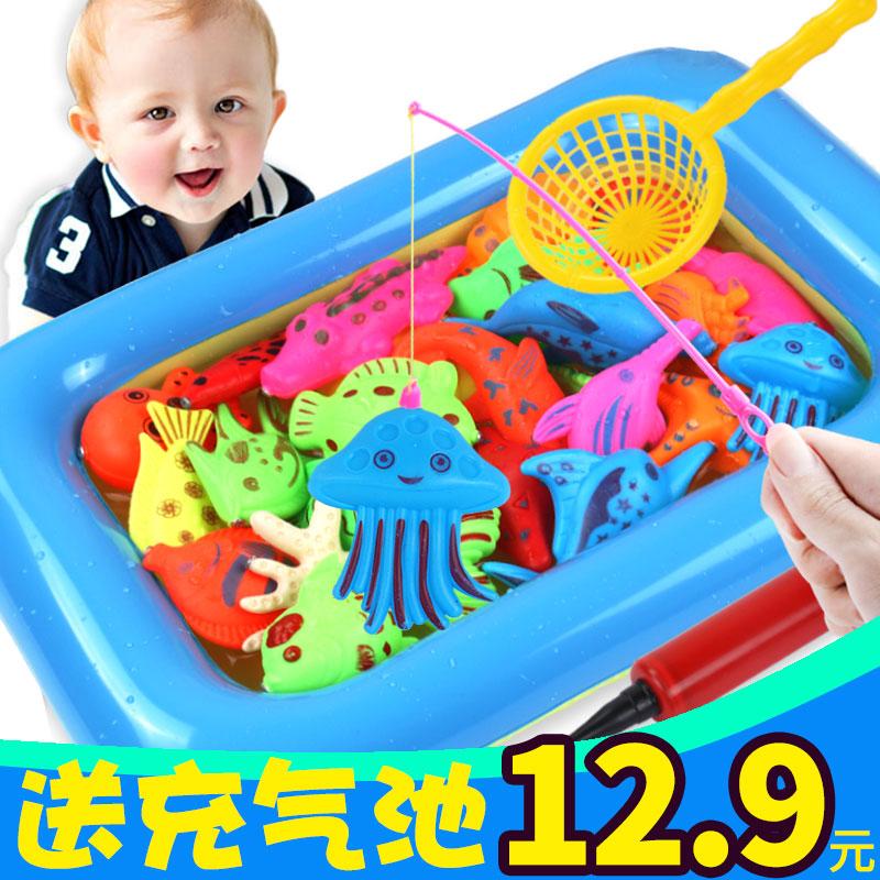 磁性益智小猫套装儿童宝宝戏水鱼池玩具钓鱼竿智力