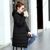 2017反季冬装新款韩版修身连帽中长款棉衣女大码棉服加厚外套棉袄