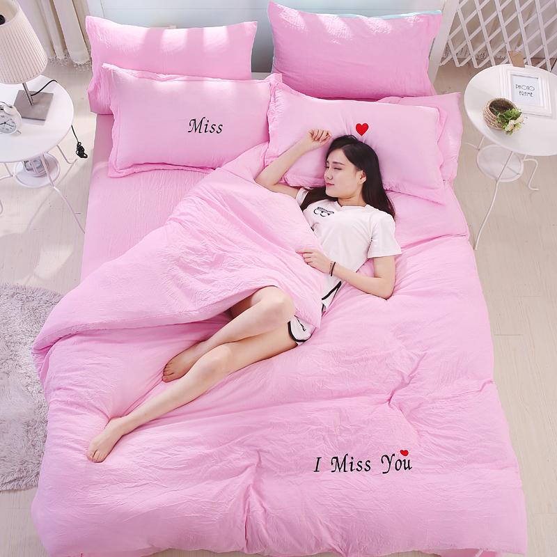米床 棉裸睡床單水洗被套婚慶泡泡紗柔軟四件套超簡約