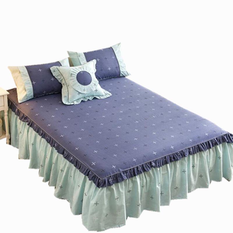 纯棉床裙单件蕾丝床罩床裙式荷叶边防滑床笠全棉1.8m米床盖三件套