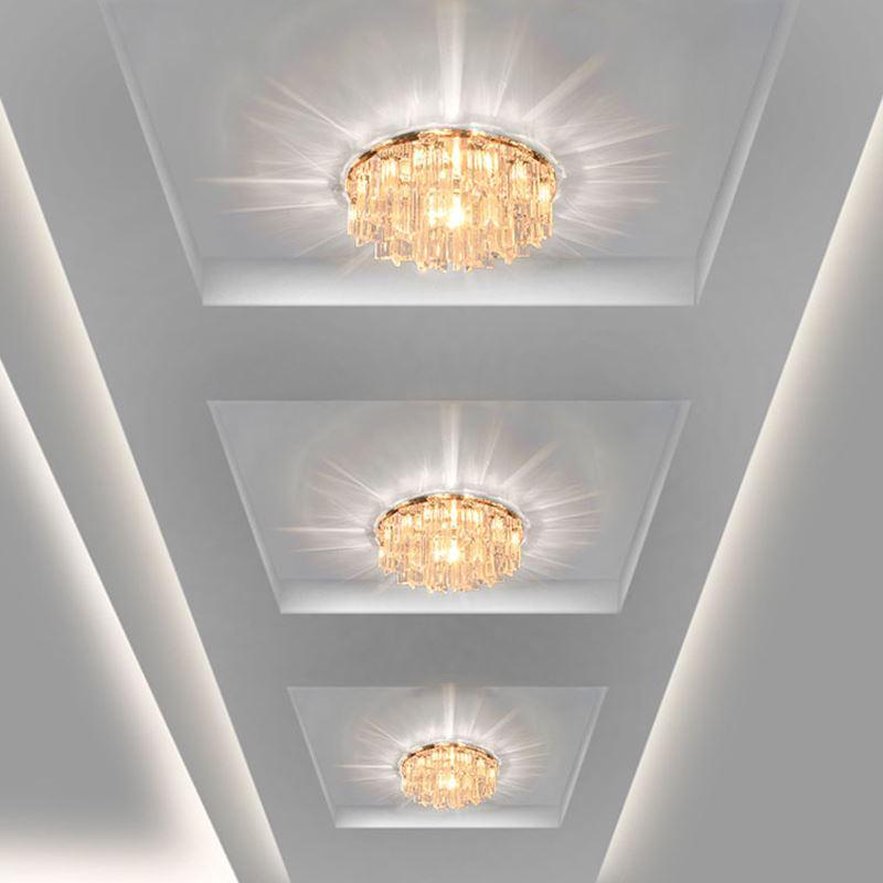 圆形过道门厅灯 玄关入户走道走廊灯水晶天花灯射灯led吸顶灯筒灯