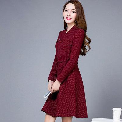 2017春秋装新款韩版女装修身显瘦中长款a型V领长袖波点冬季连衣裙
