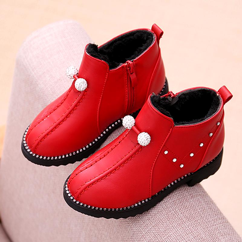 天天特价棉靴儿童雪地靴中大童水钻公主鞋女童鞋短靴加绒保暖棉鞋