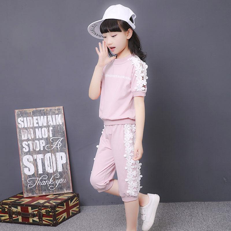 夏裝夏季運動女中女童韓版潮衣短袖套裝童裝兩件套