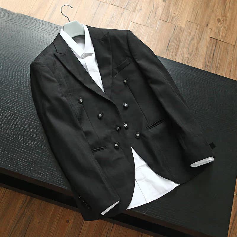 清仓不退不换羊毛桑蚕丝混纺 剪标双排扣色织暗格纹修身西服